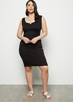 Plus Black Ribbed Knit Midi Bodycon Dress