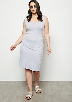 Plus Gray Ribbed Knit Midi Bodycon Dress