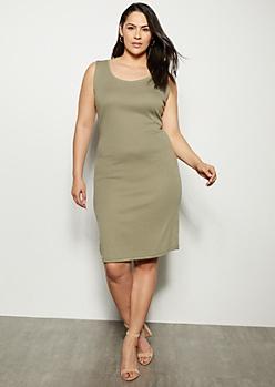 Plus Olive Ribbed Knit Midi Bodycon Dress