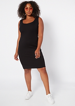 Plus Black Ribbed Knit Bodycon Sleeveless Dress