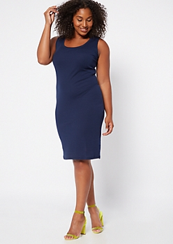 Plus Navy Ribbed Knit Bodycon Sleeveless Dress