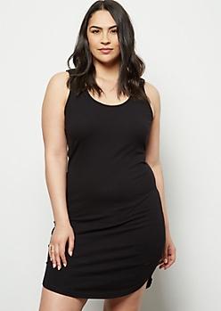 Plus Black Lattice Back Bodycon Dress