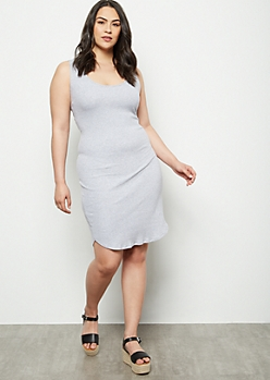 Plus Gray Lattice Back Bodycon Dress