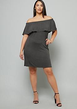 Plus Gray Flounce Off The Shoulder Mini Dress