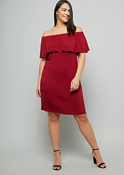 Plus Burgundy Flounce Off The Shoulder Mini Dress