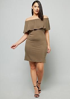 Plus Olive Flounce Off The Shoulder Mini Dress