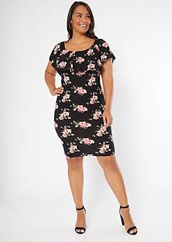 Plus Black Floral Print Flounce Off The Shoulder Dress