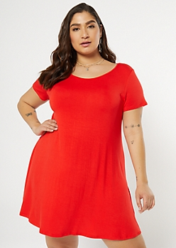 Plus Red Swing T Shirt Dress