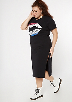Plus Black Ombre Lip Graphic T-Shirt Dress