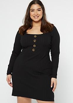 Plus Black Faux Button Skater Dress