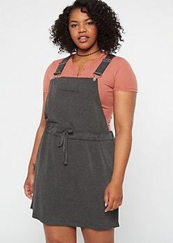 Plus Gray Drawstring Overall Dress