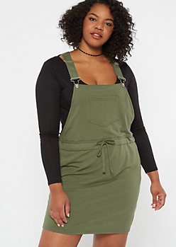Plus Olive Drawstring Overall Dress