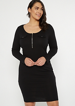 Plus Black Ribbed Knit Zip Front Dress
