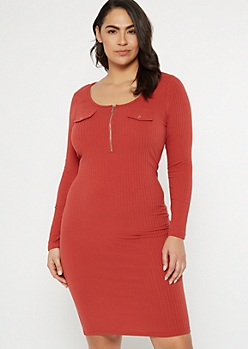Plus Burnt Orange Ribbed Knit Zip Front Dress