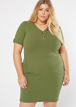 Plus Olive Henley Short Sleeve Dress