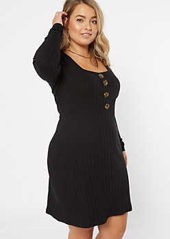 Plus Black Button Front Long Sleeve Skater Dress