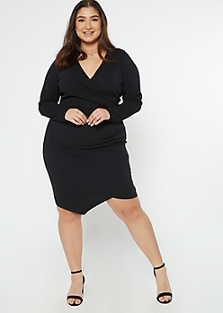 Plus Black Asymmetrical Wrap Dress