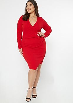 Plus Red Asymmetrical Wrap Dress
