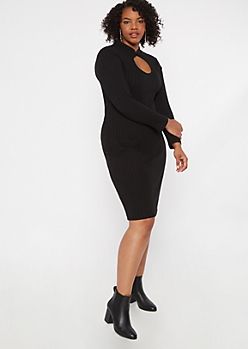 Plus Black Keyhole Chest Mini Dress