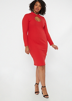Plus Red Keyhole Chest Mini Dress