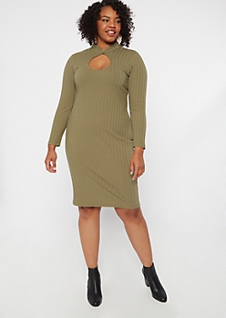 Plus Olive Keyhole Chest Mini Dress