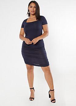 Plus Navy Square Neck Ruched Bodycon Dress