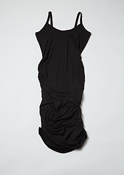 Plus Black Ruched Bodycon Mini Dress