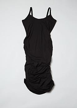 Plus Black Ruched Bodycon Mini Dress