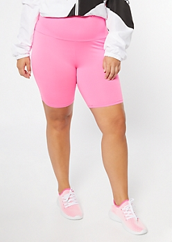 Plus Neon Pink High Waisted Super Soft Bike Shorts
