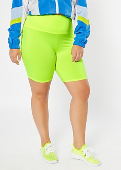Plus Neon Yellow High Waisted Super Soft Bike Shorts