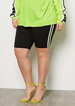 Plus Neon Yellow Side Striped Super Soft Bike Shorts