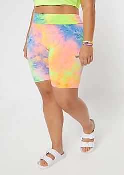Plus Neon Tie Dye Super Soft Bike Shorts