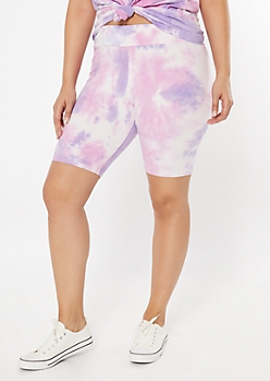 Plus Purple Tie Dye Bike Shorts