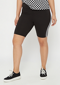 Plus Black Super Soft Side Stripe Bike Shorts