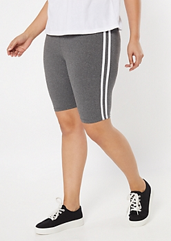 Plus Gray Side Striped Bike Shorts