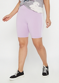 Plus Lavender Super Soft Side Stripe Bike Shorts