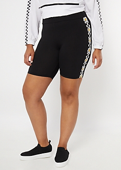 Plus Checkered Print Daisy Striped Bike Shorts