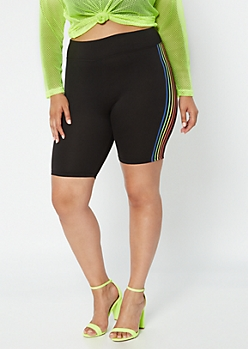 Plus Black Rainbow Side Striped Bike Shorts