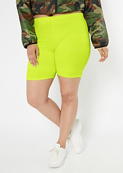 Plus Neon Yellow Bike Shorts