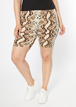 Plus Snakeskin Print Bike Shorts
