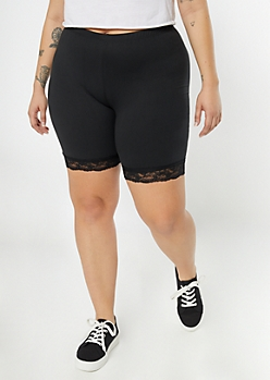 Plus Black Super Soft Lace Trim Bike Shorts