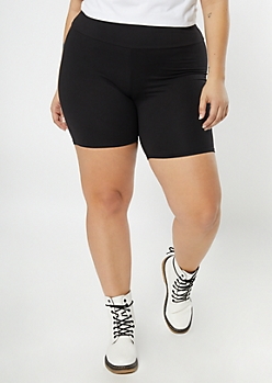 Plus Black High Rise Super Soft Bike Shorts