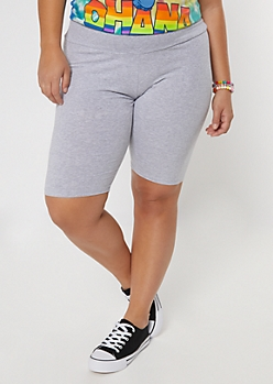 Plus Heather Gray Cotton Bike Shorts