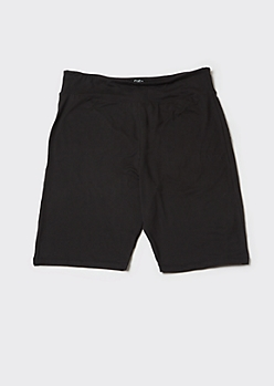Plus Black High Waisted Super Soft Bike Shorts