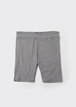 Plus Heather Gray High Waisted Super Soft Bike Shorts