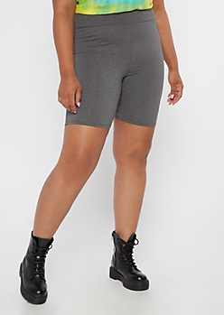 Plus Gray High Waisted Super Soft Bike Shorts