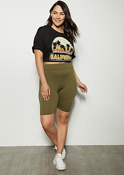 Plus Olive High Waisted Super Soft Bike Shorts