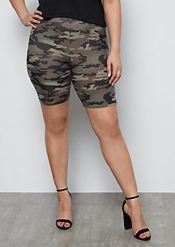 Plus Camo Print High Waisted Super Soft Bike Shorts