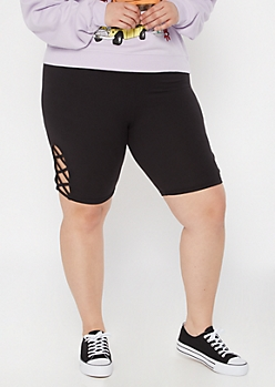 Plus Black Lattice Side Bike Shorts