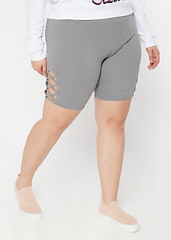 Plus Heather Gray Lattice Side Bike Shorts